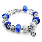 Long Way Silver Plated Snake Chain Charm Bracelets Bangles Murano Glass & Crystal Beads Fit Bracelet for Women