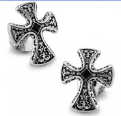 Men's Vintage Handcrafted Platinum-plated with Diamond Cross Cufflinks, Gift Box Included