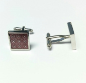 Mens Ladies Dark Red Flower Design Cufflinks Wedding Formal Business