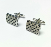 Stunning Glitzy Square Stone Encrusted Cufflinks Wedding Formal Business Checkerboard Design