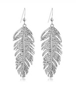Vintage Bohemian Feather Crystal Charm Pendant Earrings Silver Plated. Elements