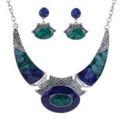 YAZILIND Ethnic Dark Blue Green Embossed Tibetan Sliver Bib Collar Earrings Necklace Jewellery Set Women