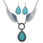 YAZILIND Vintage Waterdrop Green Turquoise Angel Wing Tibetan Sliver Bib Collar Earrings Necklace Jewellery Set