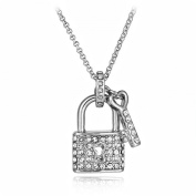 CRYSTAL LOCK & KEY PENDANT NECKLACE MADE WITH. ELEMENTS SILVER PLATED
