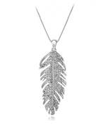 Vintage Bohemian Feather Crystal Charm Pendant Necklace Silver Plated. Elements