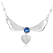 Flying Heart - 925 Sterling Silver Necklace Pendant with. Crystals
