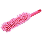 FO Cleaning Duster Dust Cleaner Handle Microfiber Feather Static Anti Bendable, Pink