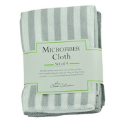The Clean Collection Set of 4 Microfiber Cleaning Cloths Grey Stripes 16 x 24