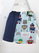 Robots/Embossed Navy Stripe Cuddle