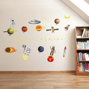 Cartoon World Planet From Outer Space Vinyl Wall Decal PVC Home Sticker House Paper Painting Decoration Wallpaper Living Room Bedroom Kitchen Art Picture DIY Murals Kids Nursery Baby Decor