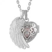 Eudora Harmony Ball Necklace Pendant Lockets Sterling Silver Angel Wing