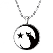Stayoung Jewellery Fashion Starry Sky Cat Luminous Pendant Necklace, Blue Emitting Colour, Best Gift for Children