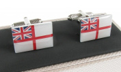 Royal Navy White Ensign Flag Cufflinks in Onyx Art Cufflinks Box