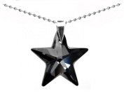 Black Sterling Silver 925 Made with Crystals from Swarovki Star Pendant Necklace for Women