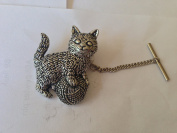 A42 Kitten wool Tack Tie Pin With Chain english pewter handmade in sheffield