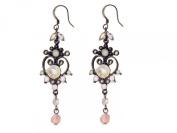 Vintage Crystal Scroll Heart Drop Earrings Ladies Jewellery Gift