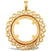 Jewelco London 9ct Solid Gold casted half-size Sovereign coin pendant mount with a spiral border
