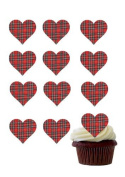 12 X PRE-CUT RED TARTAN LOVE HEARTS EDIBLE RICE / WAFER PAPER CUP CAKE TOPPERS WEDDING BIRTHDAY PARTY DECORATIONS