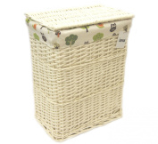 Arpan New Large Rectangular White Wicker Laundry/Linen Basket With Lining - Woodland Owls