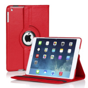 TNP iPad Air 2 Case (Red) - 360 Degree Rotating Synthetic Leather Stand Case with Smart Cover Auto Sleep & Wake Feature and Stylus Holder for Apple iPad Air 2 (iPad 6) 2014 Model