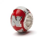 "University of Nebraska Cornhuskers Red with White Block ""N"" Bead Charm"