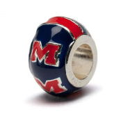 """Ole Miss Rebels Blue with Red Block """"M"""" Round Bead Charm"""
