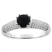 14K White Gold Natural Black Onyx Engagement Ring Round 6 mm & Diamond Accents, sizes 5 - 10
