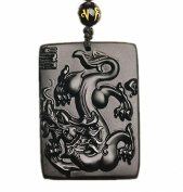 Natural Obsidian Dragon Mascot Pendant Couple
