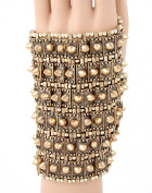 FB-5513 Rustic Gold Plated Hand Bracelet Rows of Studs and Beads. Stretchable, One Size Fits All!