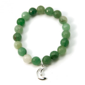 """Inner Peace"" 12mm Aventurine Gemstone Stretch Bracelet 6.5"" with Sterling Silver Cz Charm"