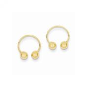 14k Yellow Gold Open Hoop Beaded Earrings