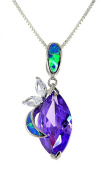 Sterling Silver Marquise-cut Simulated Amethyst and Simulated Opal Pendent Necklace