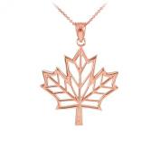 Fine 10k Rose Gold Maple Leaf Open Design Pendant Necklace