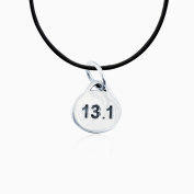 Sterling Silver 13.1 Half Marathon Oval Pendant Necklace