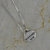 Sterling Silver Marathon Mom Oval Pendant Necklace