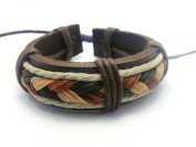 APECTO Jewellery Leather Brown & Multicolour Ropes Surfer Wrap Wristband Cuff Bracelet Handmade, SM16