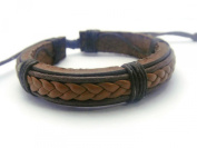 APECTO Jewellery Leather Brown Ropes Surfer Wristband Cuff Bracelet Handmade, SM17