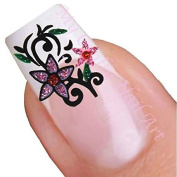 Purple Glitter Flower Adhesive Art Nail Stickers