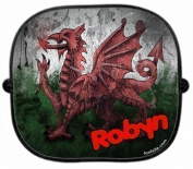 A PERSONALISED * WALES COUNTRY FLAG * CAR SUNSHADE x 1 - Welsh New Custom Collapsible Kid Baby Child Visor Window Your Name UV Screen Plain support Sunshades Present Newborn Gift Sun Shade Screen by 123t