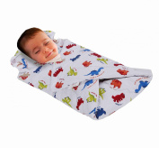 Love2Sleep SOFT TOUCH COTTON RICH BABY SWADDLE BLANKET WITH PADDED PILLOW 0 - 4 MONTHS DESIGN : DINOSAURS