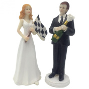 E-muse Resin F1 Car Racing Fan Bride and Groom Wedding Cake Topper 15cm Height