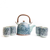 Chinese and Japanese Oriental Blue Floral Four-cups Porcelain Tea Set with Infuser