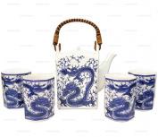 Happy Sales Japanese Porcelain Tea Set Imperial Dragon Blue