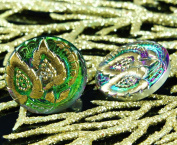 Handmade Czech Glass Buttons Gold Leaves Crystal Green Size 10, 20mm 1pc