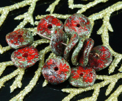 NEW SHAPE 12pcs Rough Picasso Rustic Red Grey Lustre Waved Flat Round Disc One Hole Czech Glass Beads Disc 12mm