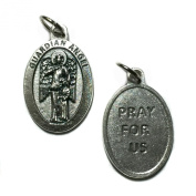 Guardian Angel Protect Protection Medal Pendant 2.5cm Pray For Us Made in Italy Silver Tone