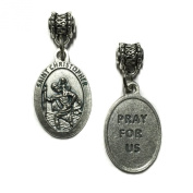 Saint Christopher Travel Travellers Protection Medal Pendant Catholic Made in Italy Silver Tone