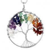 JOVIVI Crystal Quartz Tree of Life Pendant for Necklace DIY - 7 Chakra Gemstone Charms