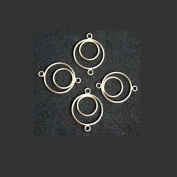 LINK CONNECTOR DOUBLE HOOP 18mm GOLD or SILVER PLATE 10 pcs