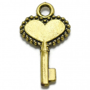 50 Small Heart Key Charms gold tone